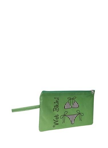 T-Box T-Box Desenli Yeşil Plaj Çantası Yeşil